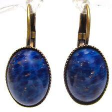 SoHo® Ohrhänger vintage glas lapis blau handgemachter böhmischer Glasstein 60er