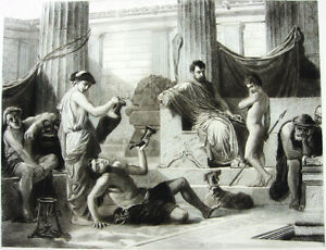 ANCIENT SPARTA KING & WARRIOR SON LOOK AT DRUNK SLAVES ~ 1886 Art Print ETCHING