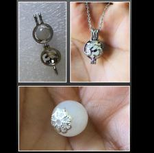 "OM White Russian Natrolite Crystal Spiritual Sterling Silver Locket Necklace 18"""