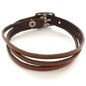 BROWN THREE STRAP BANDED LEATHER BRACELET STRAP WITH BUCKLE ADJUSTABLE SIZE