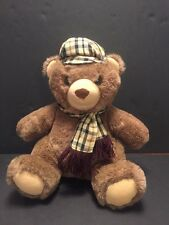 "13"" Dakin 1984 Arthur Plush Teddy Bear Tartan Plaid Scarf Hat Stuffed Animal"
