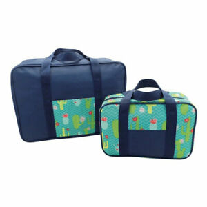 Set of 2 Drink & Food Cooler Bags Summer Travel Picnic Cool Insulated Beach Bag