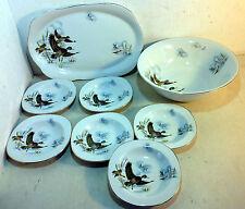 8 Pc Vintage Dessert Serving Set, Fenland Ducks, Alfred Meakin Glo-White (5961)