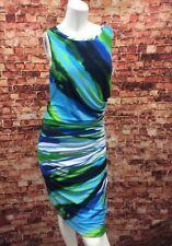 Joseph Ribkoff Blue Green White Ruched Side Sheath Dress Size 8