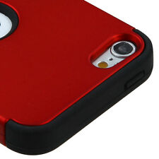 For iPod Touch 5th & 6th Gen - Hybrid Rugged Hard&Soft Armor Skin Case RED BLACK