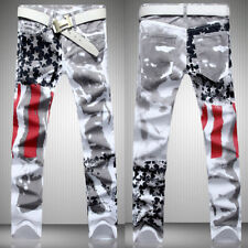 Men's Distressed Jeans Slim Fit Long Pants Trousers American Flag Printed Jeans