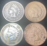 (4) INDIAN HEAD PENNYS, 1859, 1874, 1878, 1879, Sold As Pictured, ***AS IS***