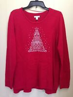 Croft & Barrow Women's Embroidered Holiday Christmas Sweater Red Size XL XXL NWT