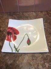 "Red Vanilla Summer Sun 8"" Square Salad Plate Royal Bone China Poppy - New"