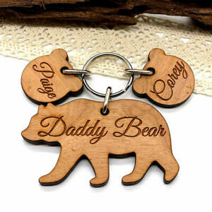 Personalised Daddy Bear Keyring, Birthday Gifts for him Dads, Father's day gifts