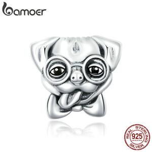 BAMOER Authentic S925 Sterling Silver Enamel Cute Puppy DIY Charm Fit Bracelet