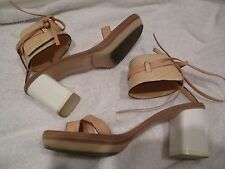 REED KRAKOFF ankle wrap nude sandals heels SZ 36.5/6.5