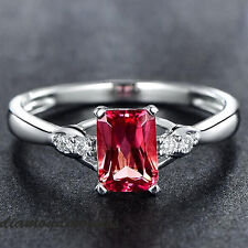 Estate Solid 14k White Gold Natural Pink Tourmaline Diamond Engagement Ring