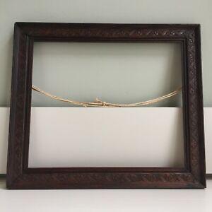 Vintage Antique Carved Wooden Dark Oak Picture Photograph Frame 37x31cm