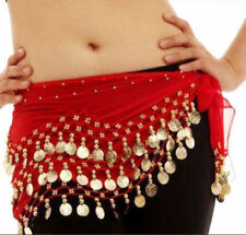 3ROWS BELLY DANCE HIP SCARF WRAP BELT DANCER SKIRT COSTUME COINS ALL COLOURS bly
