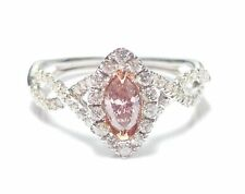 0.86ct Fancy Pink Diamond Engagement Ring GIA Marquise Hallo 18K White Gold Si1