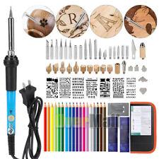 63pcs Wood Burning Pen Tool Multifunction Craft Pyrography Burner Set Kit 110V