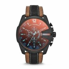 Brand-New Diesel Men's Chronograph Brown Mesh/Burnished Leather Watch DZ4305