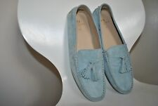 Womens Dunnes PAUL COSTELLOE Cushioned Boat Loafer Moccasin Shoes REAL SUEDE Blu