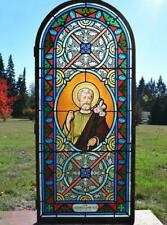 "*Antique French Stained Glass Panel w/Leaded Glass ""Joseph"" Religious"