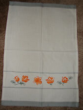 New Corelle Apricot Grove waffle towel NWT 13 x 18 inches New Gray White Orange