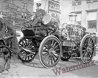 Photograph of a New York Vintage Searchlight Fire Wagon 1904 circa 8x10