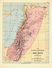 1878 VICTORIAN MAP ~ THE UNITED KINGDOM of SAUL DAVID and SOLOMON