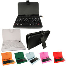 "Leather PU Keyboard case for 7"" 8"" Android  Tablet Micro USB stand LOT color"