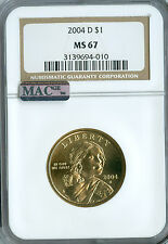2004-D SACAGAWEA DOLLAR NGC MAC MS 67 PQ MAC SPOTLESS .