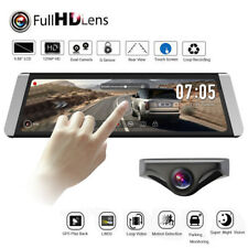 1296P HD Car DVR Rear View Mirror Dash Cam Video Recorder GPS + Backup Camera