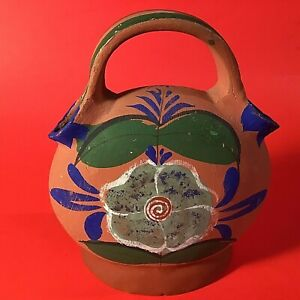 MEXICAN POTTERY WEDDING VASE HAND CRAFTED & HAND PAINTED BLUE ORANGE VINTAGE