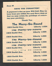 lot of 8 unmailed Jefferson postal cards The Merry-Go-Round Euclid Cleveland OH