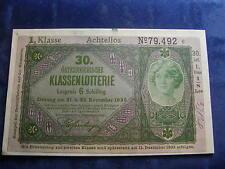 20 Kronen 30. Klassenlotterie Achtellos 1. Klasse Donaustaat Österreich W/17/187