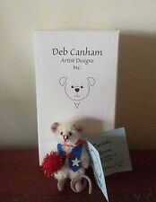 """DEB CANHAM """"PATRIOTIC MOUSE"""" RED/WHITE/BLUE  MINI MOHAIR MOUSE - 2 3/4"""" TALL"""