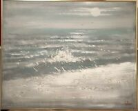 LEE REYNOLDS SIGNED ORIGINAL OIL CANVAS PAINTING OCEAN WAVES SEAGULLS MOON40x50