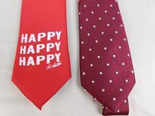 Lot 2 Ties - Duck Dynasty Happy Happy Happy, Club Room Textured Dot - Red #2155