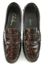 Cole Haan Nike Air Penny Loafer Driving Moc Shoes Patent Leopard Print Sz 6.5B