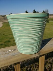 Beautiful Vintage McCoy Pottery Turquoise blue aqua green ribbed Planter Pot