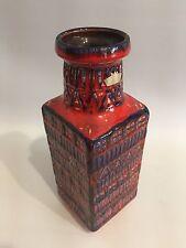 FAT LAVA Vase Bay 7025 West Germany Pottery WGP Blue Red 70s 70er Design