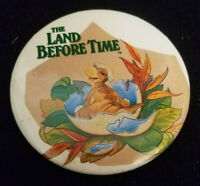 THE LAND BEFORE TIME 1988 Movie Promo Round Button Pin Pinback Disney Universal