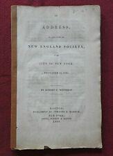 1839 Indirizzi Per Il Nuovo Inghilterra Società Robert C.Winthrop York Città Ny