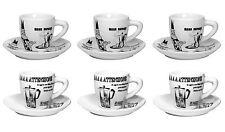 BIALETTI - Servizio 6 tazzine caffè e piattini in porcellana decori CAROSELLO