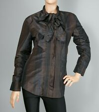 Yves Saint Laurent Brown Coffee Silk Shirt Blouse F40