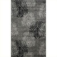 Linon Rugs Milan Rectangular Area Rug in Grey and Black-5' x 7'7""