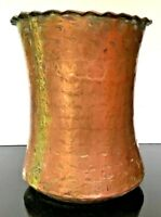 """Antique Persian Hand Hammered Pot Scalloped Rim 10-1/2"""" Tall"""