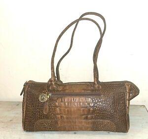 Vintage Brahmin Pecan Brown Croc Leather Shoulder Medium Duffle Baguette Bag