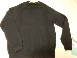 Burberry London CASHMERE SWEATER Men's L BLACK V-Neck Pre-Owned