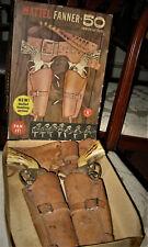 Vintage Mattel Fanner 50/ DOUBLE HOLSTER AND PISTOL SET Toy Cap GunsIn Box