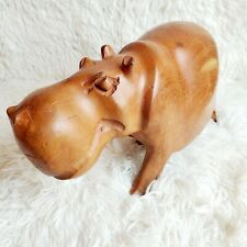 Vintage Hippopotamus Hand Carved Heavy Teak Wood Happy Face Hippo Figurine Evc