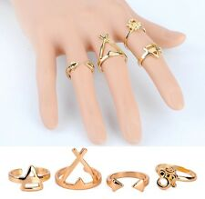 RINGS STACK KNUCKLE FINGERS FASHION URBAN GOLD PLATED COLOUR ABOVE BAND MIDI HOT